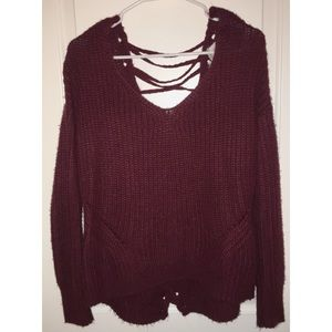 American Rag Burgundy Lace Up Sweater